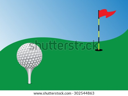 golf ball on tee in the green course. vector illustration