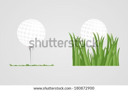 Golf ball on tee on grass, vector illustration - stock vector