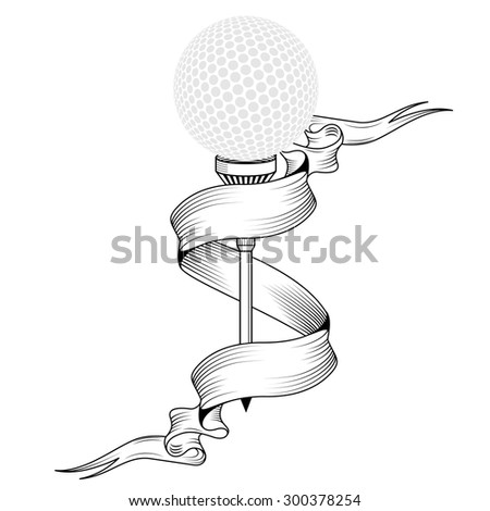 Golf ball on tee realistic vector illustration. Vector golf ball isolated on white background. Golf tee of Engraving style with ball. golf ball on tee with place for text