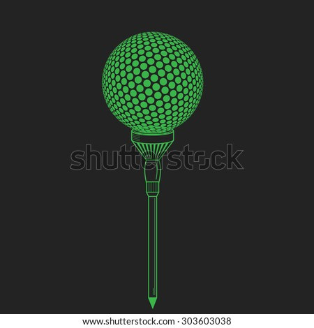 Golf ball on tee realistic vector illustration. Vector golf ball on black. Golf tee of Engraving style with ball - stock vector