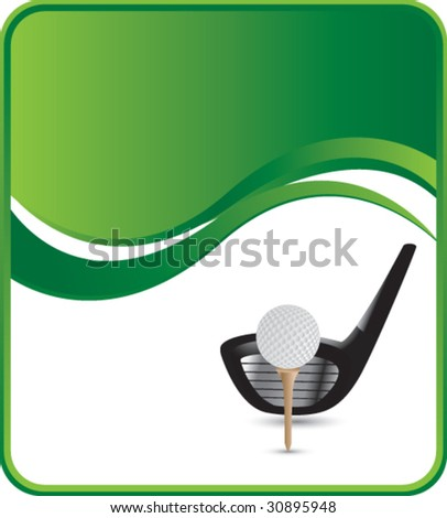 golf ball on tee with club on green wave background - stock vector