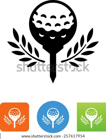 Golf ball on tee with laurel symbol for download. Editable vector icons for video, mobile apps, Web sites and print projects. - stock vector