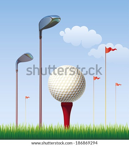 Golf ball on the background of blue sky. Editable vector illustration. - stock vector