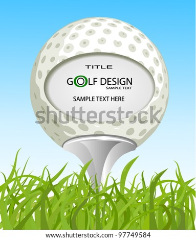 Golf ball on the grass - stock vector