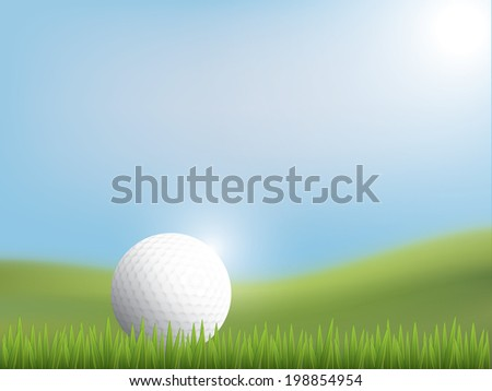Golf ball on the green - stock vector
