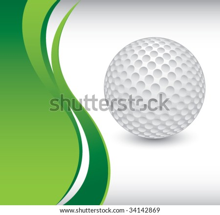 golf ball on vertical wave background - stock vector