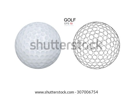 Golf ball on white background. Vector illustration. - stock vector