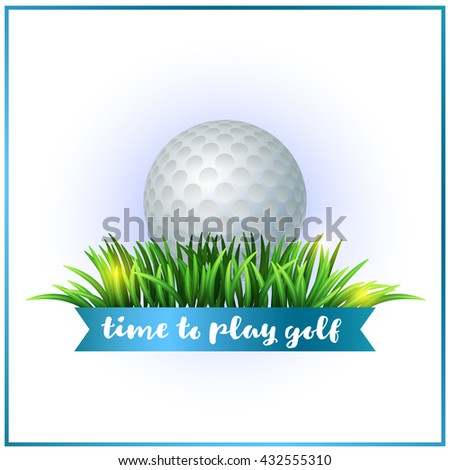 Golf ball on white tee and green grass. Realistic vector illustration. Golf design. Sport background. Time to play golf - stock vector