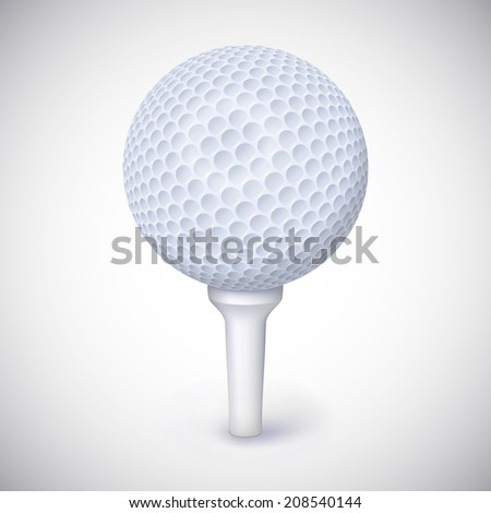 Golf ball on white tee realistic vector illustration isolated - stock vector