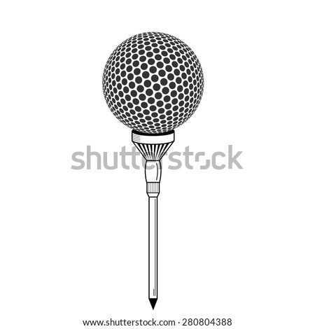 Golf ball on white tee realistic vector illustration isolated. Vector golf ball isolated on white. Golf tee of Engraving style with ball - stock vector