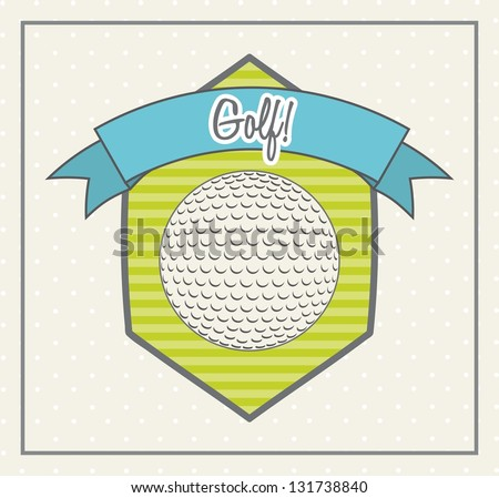 golf ball over cute label background. vector illustration - stock vector