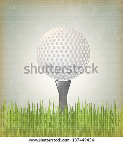 Golf ball over vintage background vector illustration - stock vector