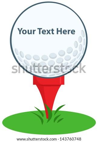 Golf Ball Tee Sign - stock vector