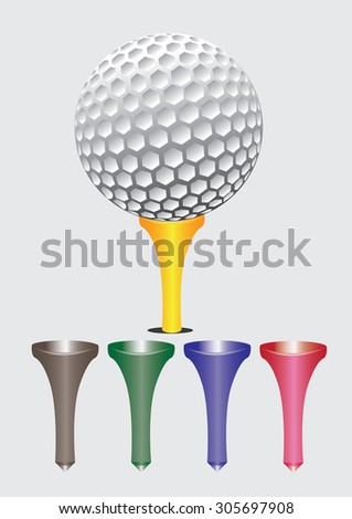 golf ball with colorful tees. vector illustration - stock vector