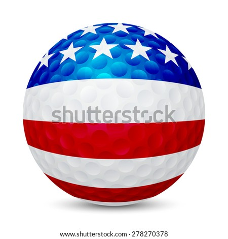 Golf ball with flag of USA, isolated on white background. Vector EPS10 illustration.  - stock vector