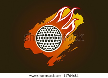 Golf ball with flames - stock vector