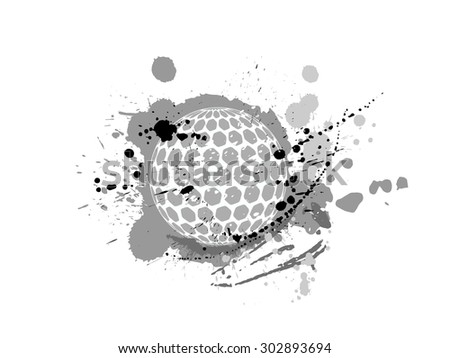 golf ball with pattern vector design grunge illustration  - stock vector