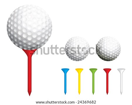 Golf balls and tees - stock vector