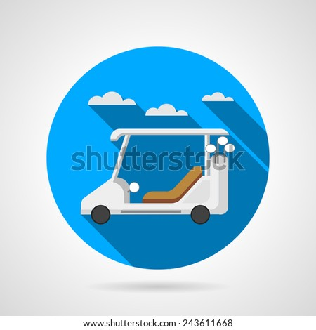Golf car flat vector icon. Blue colored round vector icon with white golf car on gray background. Flat design with shadow. - stock vector