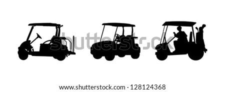 golf car Silhouettes - stock vector