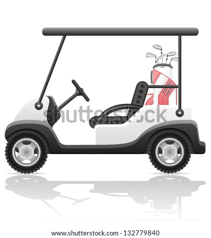 golf car vector illustration isolated on white background - stock vector