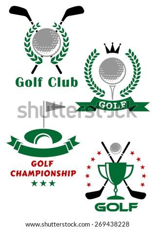 Golf championship emblems or badges showing balls, putters, tee, trophy cup and hole with flag encircled laurel wreaths, stars and ribbon banners
