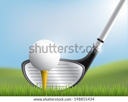 Golf club and ball in grass - stock vector