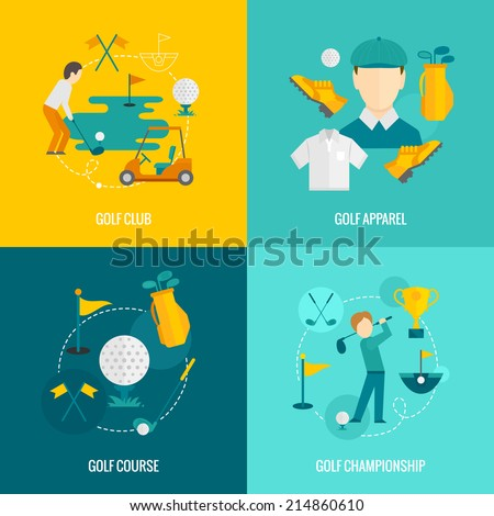 Golf club apparel course and championship flat icons set isolated vector illustration - stock vector