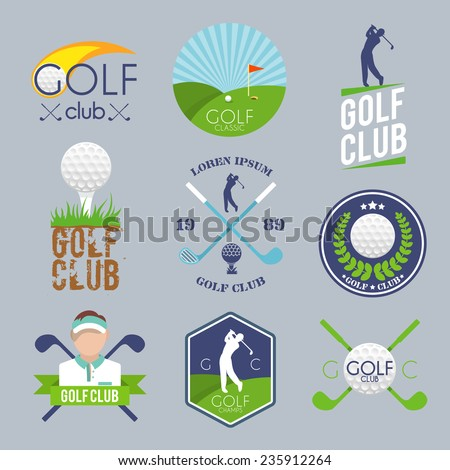 Golf club label set with ball tee player lawn competition isolated vector illustration - stock vector