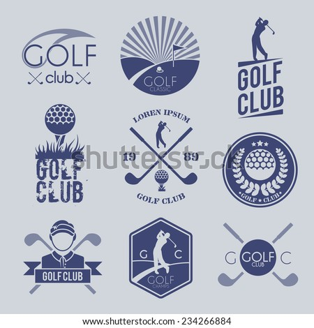 Golf club sport game competition black and white label set isolated vector illustration - stock vector