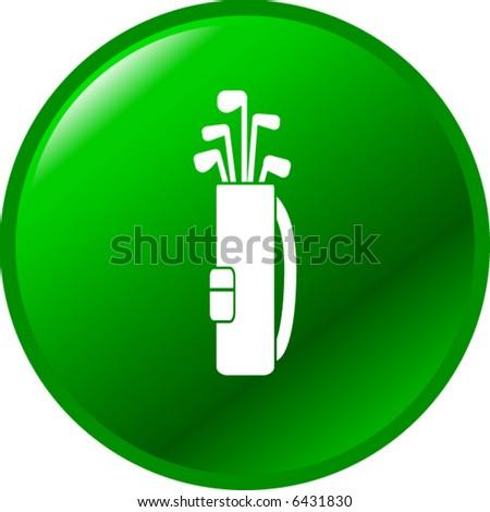golf clubs bag button - stock vector