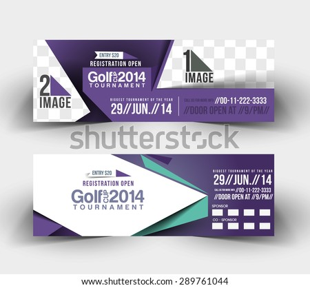 Golf Cup Business Ad, Header & Banner Design - stock vector