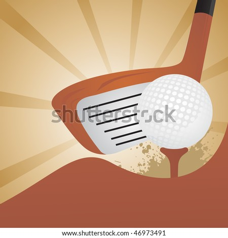 golf driver on black background - stock vector
