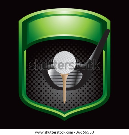 golf driver on green display - stock vector
