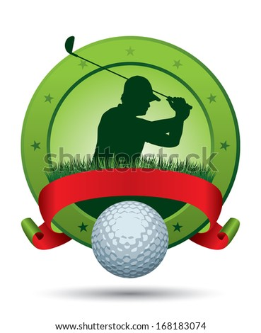 Golf Emblem with silhouette and Ball - stock vector