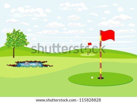 golf field - stock vector