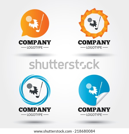 Golf fireball with club sign icon. Sport symbol. Business abstract circle logos. Icon in speech bubble, wreath. Vector - stock vector