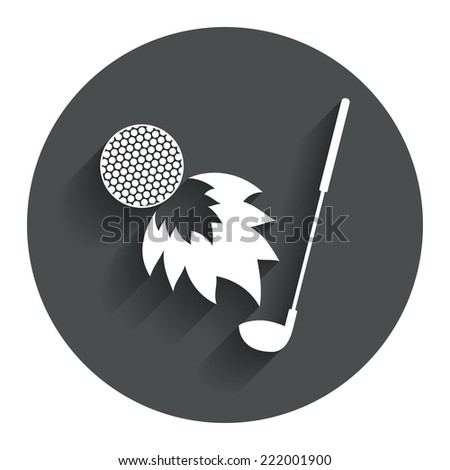 Golf fireball with club sign icon. Sport symbol. Circle flat button with shadow. Modern UI website navigation. Vector - stock vector