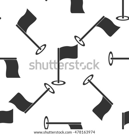 Golf flag icon pattern on white background. Vector Illustration