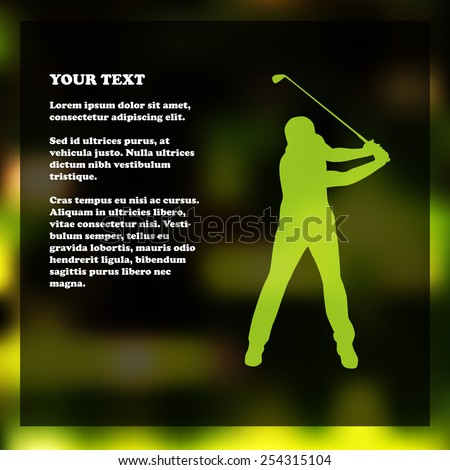 Golf flyer template with golfer silhouette - stock vector