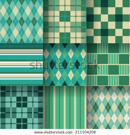 Golf fresh backgrounds. Seamless pattern background with green colors. Vector illustration EPS-10. Pattern Swatches made with Global Colors - quick, simple editing of color - stock vector