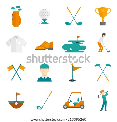 Golf game equipment and player flat icons set isolated vector illustration - stock vector