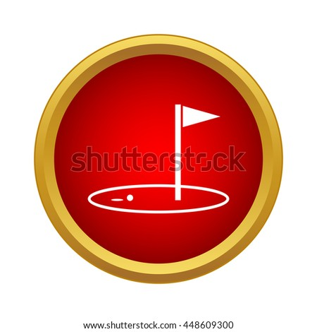 Golf game icon in simple style in red circle. Sport symbol - stock vector