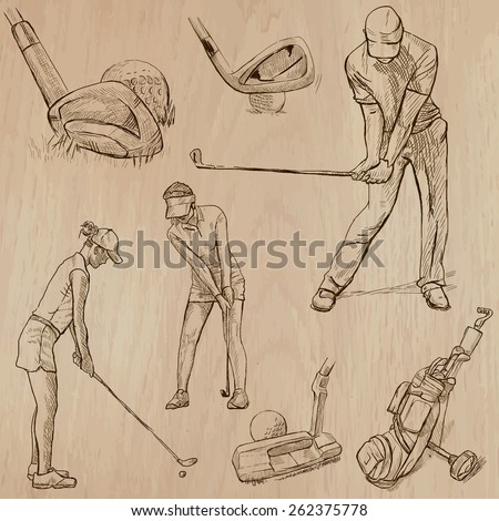 GOLF, Golfers, Golf , and Golf Equipment. Collection of an hand drawn illustrations (line art vectors - pack no.5). Each drawing comprises of three or four layers of lines, background is isolated. - stock vector