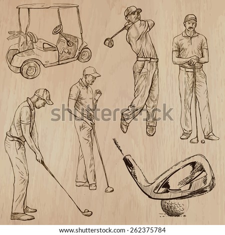 GOLF, Golfers, Golf , and Golf Equipment. Collection of an hand drawn illustrations (line art vectors - pack no.2). Each drawing comprises of three or four layers of lines, background is isolated. - stock vector