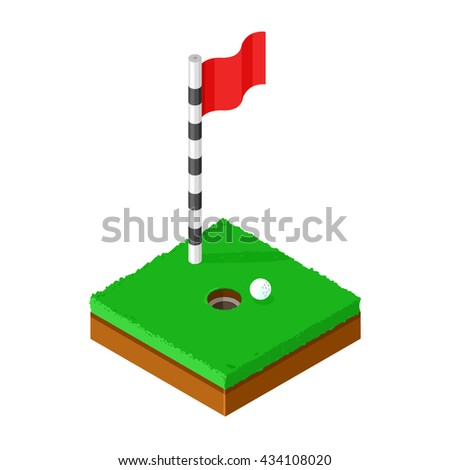 Golf green with golf ball beside hole. Isometric vector illustration Golf Putting green icon. Playing golf. - stock vector