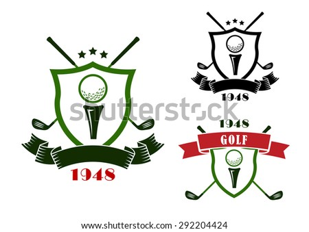Golf heraldic emblems in retro style with shields, golf balls on start position and crossed clubs behind, decorated with stars and ribbon banners - stock vector