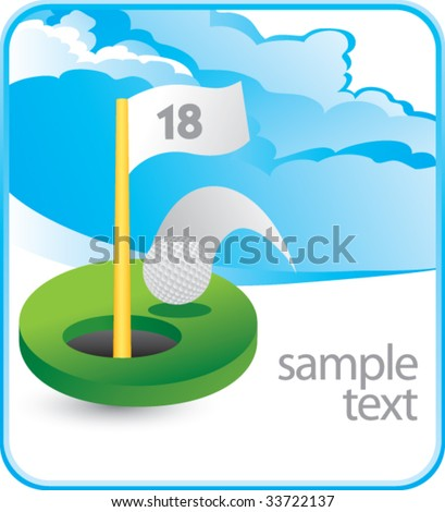 golf hole in one on cloud banner - stock vector