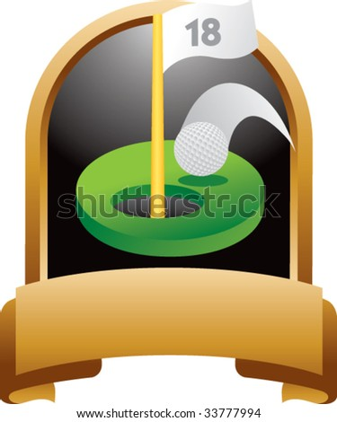 golf hole in one on crest shaped display - stock vector