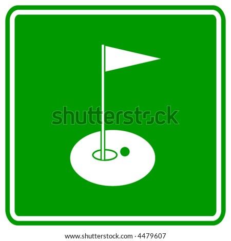 golf hole sign - stock vector